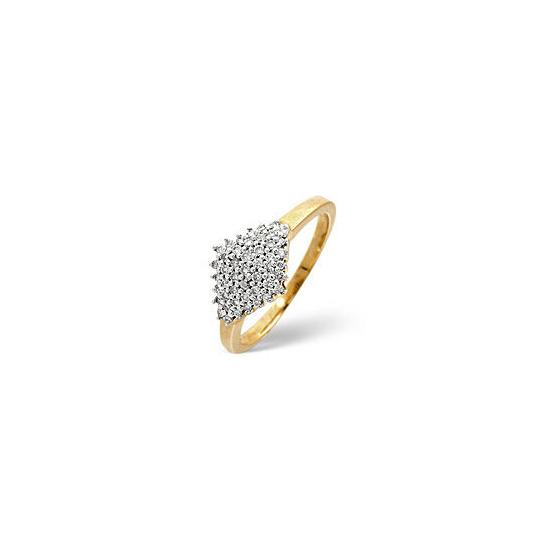 Cluster Ring 0.23CT Diamond 9K Yellow Gold