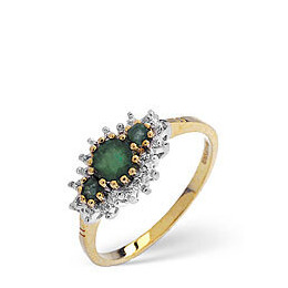 The Diamond Store Emerald Diamond Ring 9K Yellow Gold Reviews