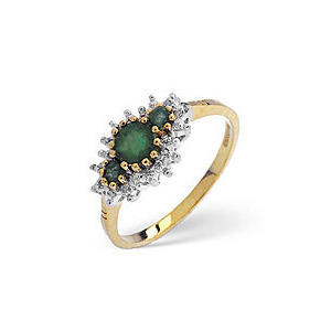 Photo of The Diamond Store Emerald Diamond Ring 9K Yellow Gold Jewellery Woman