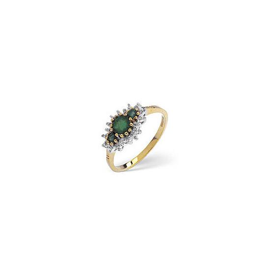 The Diamond Store Emerald Diamond Ring 9K Yellow Gold