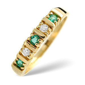 Photo of Emerald & 0.08CT Diamond Ring 9K Yellow Gold Jewellery Woman