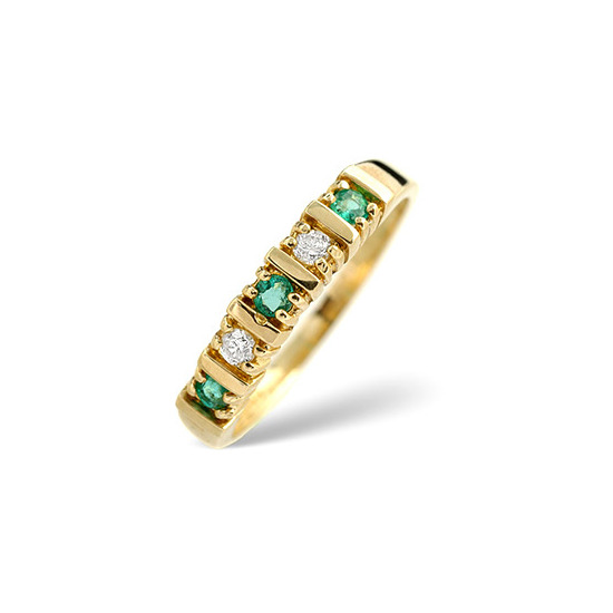 Emerald & 0.08CT Diamond Ring 9K Yellow Gold