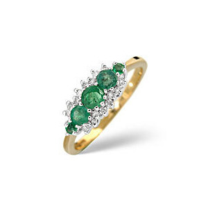 Photo of Emerald & 0.12CT Diamond Ring 9K Yellow Gold Jewellery Woman
