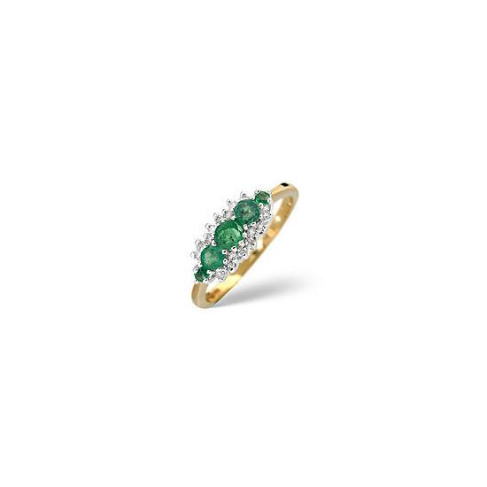 Emerald & 0.12CT Diamond Ring 9K Yellow Gold