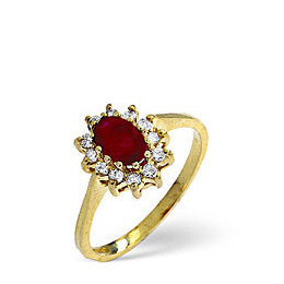Ruby & 0.18CT Diamond Ring 9K Yellow Gold Reviews