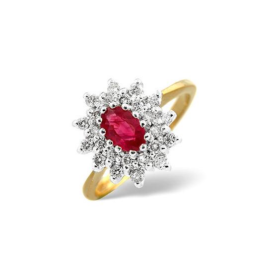 Ruby & 0.36CT Diamond Ring 9K Yellow Gold