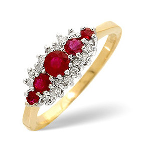 Photo of Ruby & 0.12CT Diamond Ring 9K Yellow Gold Jewellery Woman