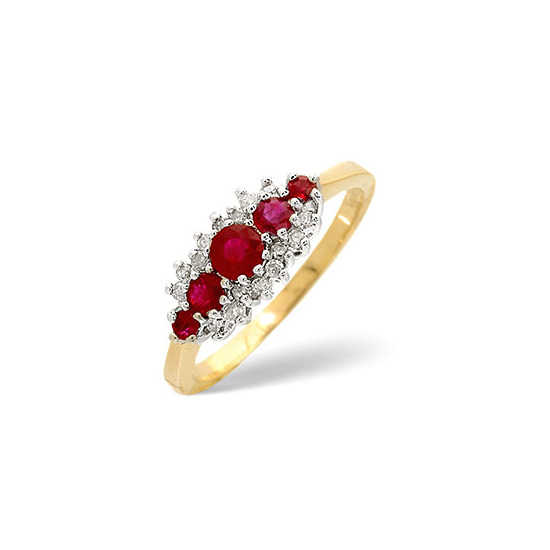 Ruby & 0.12CT Diamond Ring 9K Yellow Gold