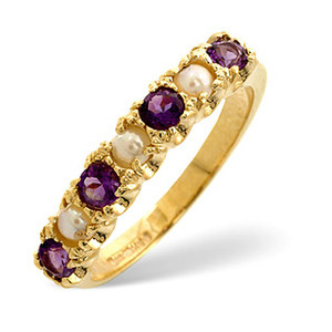 Photo of Pearl &  Amethyst Ring 9K Yellow Gold Jewellery Woman