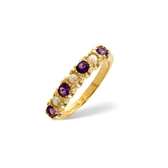 Pearl &  Amethyst Ring 9K Yellow Gold