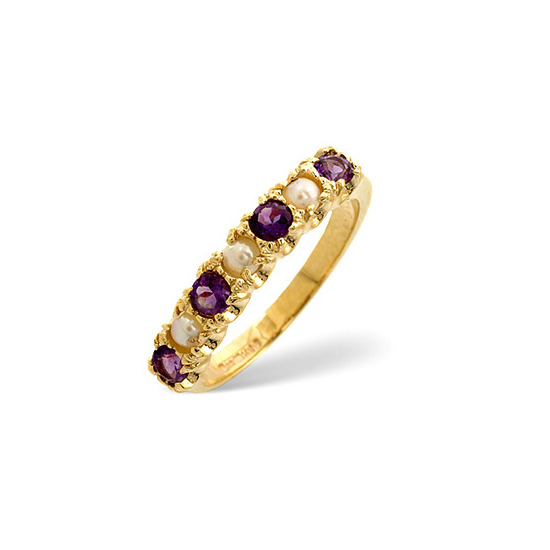 Pearl &  Amethyst Ring 9K Yellow Gold