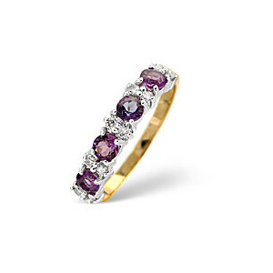 Photo of Amethyst & 0.15CT Diamond Ring 9K Yellow Gold Jewellery Woman