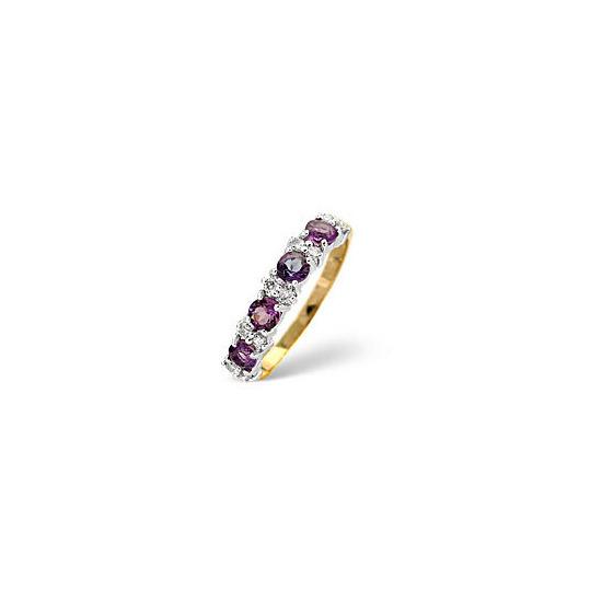 Amethyst & 0.15CT Diamond Ring 9K Yellow Gold