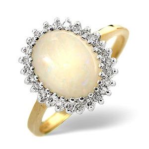Photo of Opal & 0.20CT Diamond Ring 9K Yellow Gold Jewellery Woman
