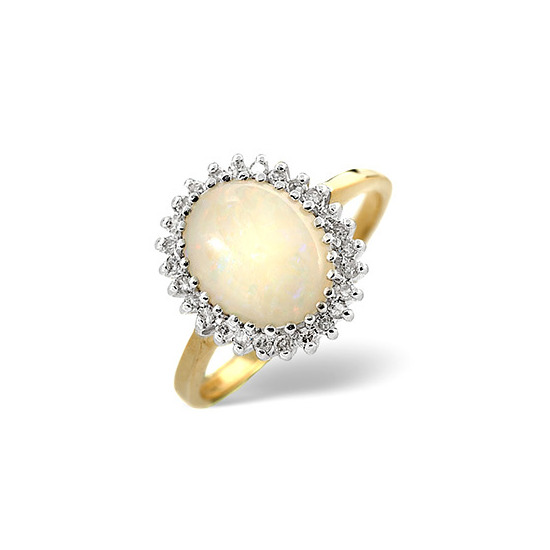 Opal & 0.20CT Diamond Ring 9K Yellow Gold