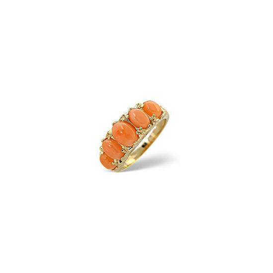 The Diamond Store Coral Ring Coral 9K Yellow Gold