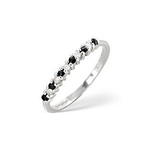 Photo of Sapphire & 0.08CT Diamond Ring 9K White Gold Jewellery Woman