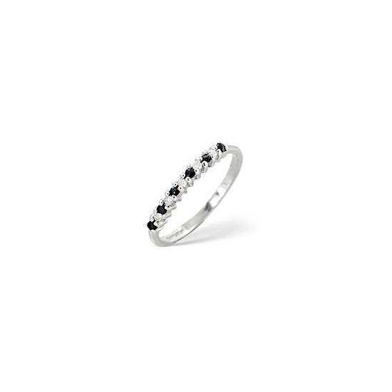 Sapphire & 0.08CT Diamond Ring 9K White Gold
