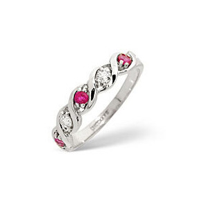 Photo of Ruby & 0.08CT Diamond Ring 9K White Gold Jewellery Woman