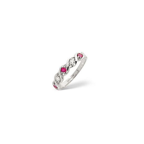 Ruby & 0.08CT Diamond Ring 9K White Gold