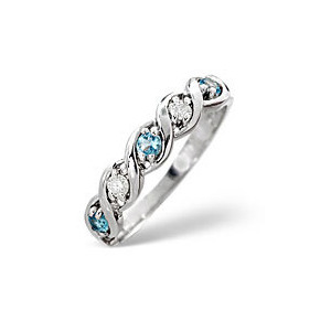 Photo of Blue Topaz & 0.08CT Diamond Ring 9K White Gold Jewellery Woman