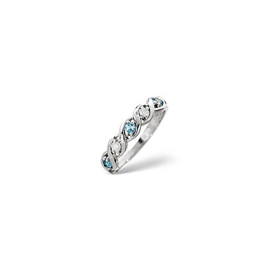 Blue Topaz & 0.08CT Diamond Ring 9K White Gold