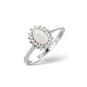 Photo of Opal & 0.08CT Diamond Ring 9K White Gold Jewellery Woman
