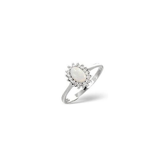 Opal & 0.08CT Diamond Ring 9K White Gold