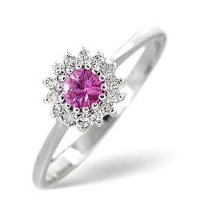 Photo of Pink Sapphire & 0.07CT Diamond Ring 9K White Gold Jewellery Woman