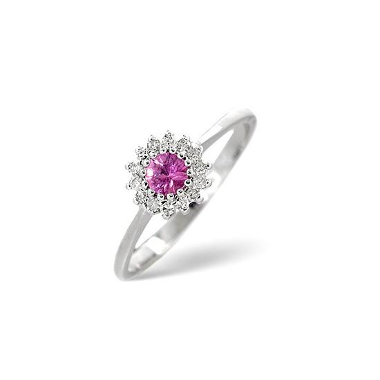 Pink Sapphire & 0.07CT Diamond Ring 9K White Gold
