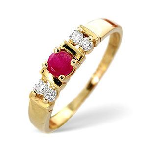 Photo of Ruby & 0.10CT Diamond Ring 9K Yellow Gold Jewellery Woman