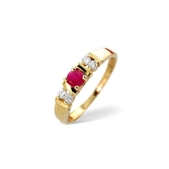 Ruby & 0.10CT Diamond Ring 9K Yellow Gold