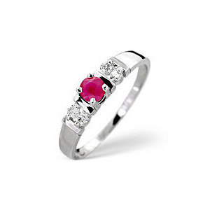 Photo of The Diamond Store Ruby 0 10CT Diamond Ring 9K White Gold Jewellery Woman