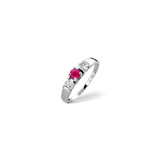 The Diamond Store Ruby 0 10CT Diamond Ring 9K White Gold