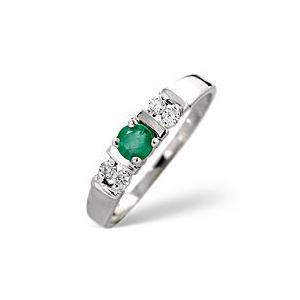 Photo of Emerald & 0.10CT Diamond Ring 9K White Gold Jewellery Woman