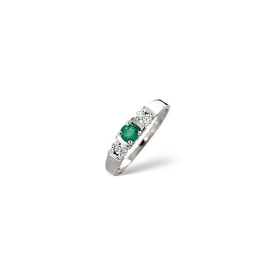 Emerald & 0.10CT Diamond Ring 9K White Gold