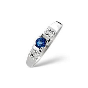 Photo of Kanchan Sapphire & 0.10CT Diamond Ring 9K White Gold Jewellery Woman