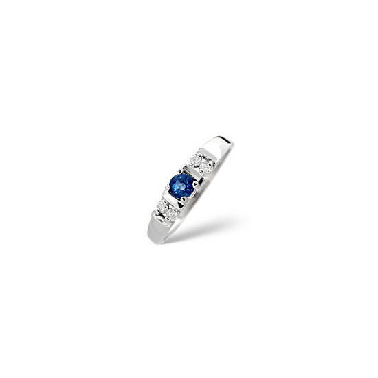 Kanchan Sapphire & 0.10CT Diamond Ring 9K White Gold