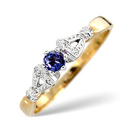 Tanzanite & 0.17CT Diamond Ring 9K Yellow Gold Reviews
