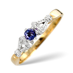Photo of Tanzanite & 0.17CT Diamond Ring 9K Yellow Gold Jewellery Woman