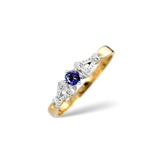Tanzanite & 0.17CT Diamond Ring 9K Yellow Gold