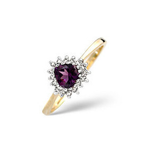 Photo of Amethyst & 0.12CT Diamond Ring 9K Yellow Gold Jewellery Woman