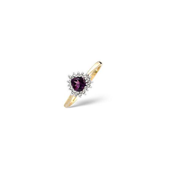 Amethyst & 0.12CT Diamond Ring 9K Yellow Gold