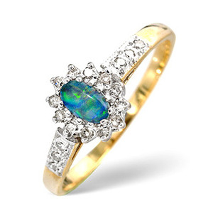 Photo of Opal Triplet & 0.14CT Diamond Ring 9K Yellow Gold Jewellery Woman