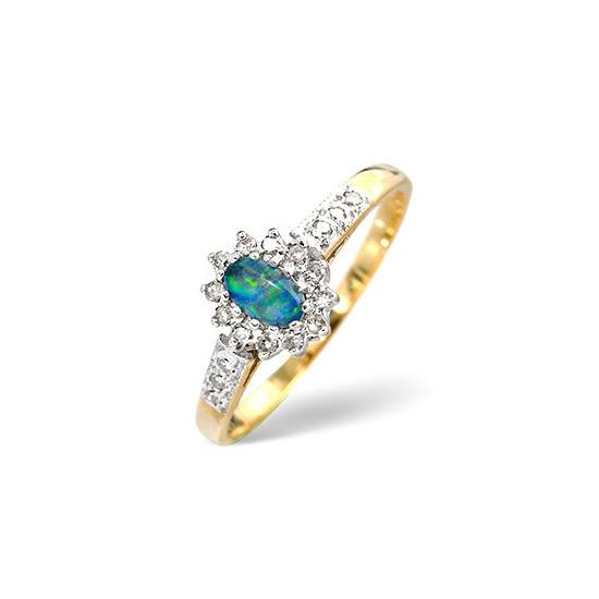 Opal Triplet & 0.14CT Diamond Ring 9K Yellow Gold