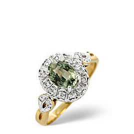 Green Sapphire & 0.06ct Diamond Ring 9K Yellow Gold Reviews