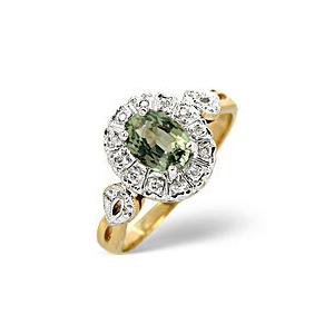 Photo of Green Sapphire & 0.06CT Diamond Ring 9K Yellow Gold Jewellery Woman