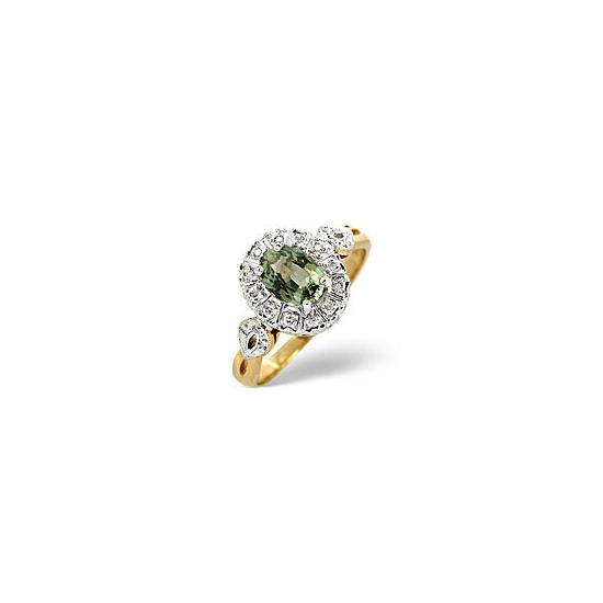 Green Sapphire & 0.06ct Diamond Ring 9K Yellow Gold