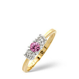 The Diamond Store Pink Sapphire 0 25CT Diamond Ring 9K Yellow Gold Reviews