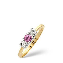 The Diamond Store Pink Sapphire 0 25CT Diamond Ring 9K Yellow Gold Reviews
